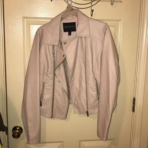 PINK FAUX LEATHER MOTTO JACKET